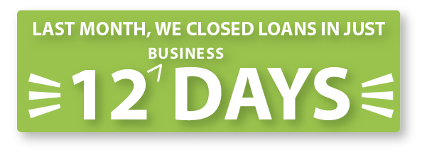 This month, loans closed in twelve days